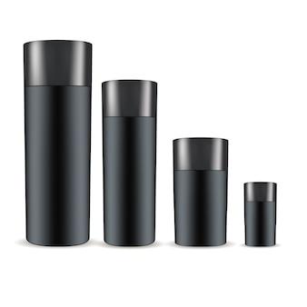 Zwarte cosmetische flessen set. schoonheidsmiddelen