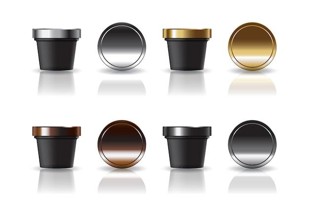 Zwarte cosmetische of voedsel ronde beker met 4 kleuren zilver-goud-bruin-zwart deksel mock-up sjabloon.