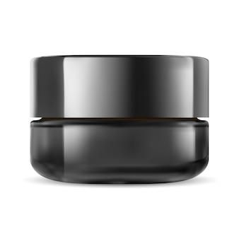 Zwarte cosmetische pot. glass cream packaging mockup