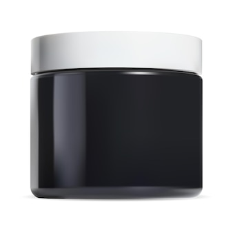 Zwarte cosmetische zalfpot. glans pot witte plastic dop. make-up kan monster, ronde gezicht boter sjabloon 3d vector illustratie mock up