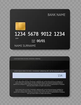 Zwarte creditcard. realistische kaarten met chip, voor- en achterkant mockup voor banktransactie