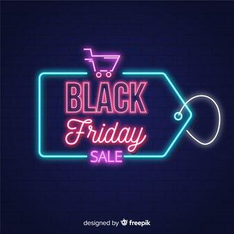 Zwarte de neonlichtenachtergrond van de vrijdagverkoop