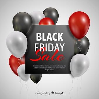 Zwarte de verkoopachtergrond van de vrijdagballon in zwart en rood