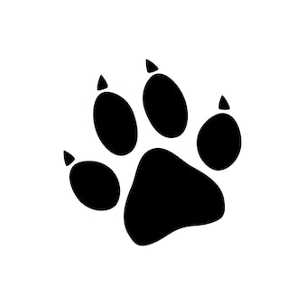 Zwarte dierlijke pootafdruk geïsoleerd op een witte achtergrond. vector illustratie.