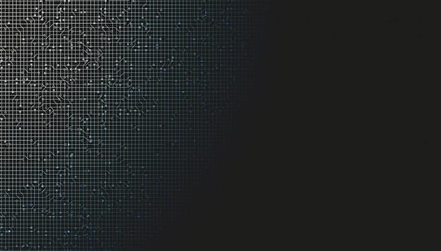 Zwarte digitale netwerksysteemtechnologieachtergrond, lijnverbinding en internetconceptontwerp, illustratie.