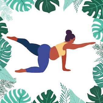 Zwarte dikke vrouw doet yoga selflove fitness en overgewicht dik meisje zit in yoga pose