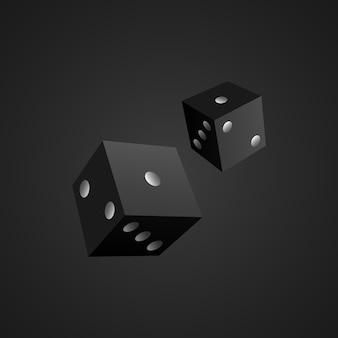 Zwarte dobbelstenen. blokjes. .