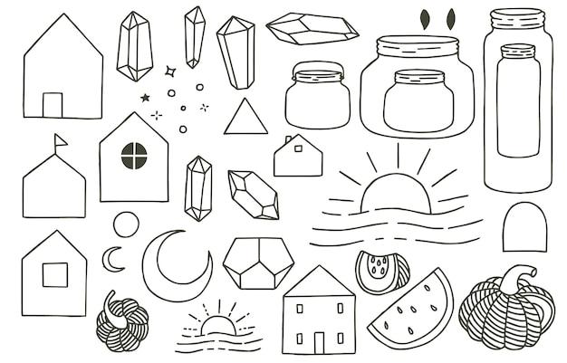 Zwarte doodle obect met huis, pot, fruit, maan, zon, kristal. illustratie voor pictogram, logo, tatoeage, accessoires en interieur