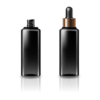 Zwarte doorzichtige cosmetische vierkante fles met zwart-koperen druppeldeksel voor schoonheid of gezond product.