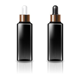 Zwarte doorzichtige vierkante cosmetische fles met wit en zwart-koperen druppeldeksel voor schoonheid of gezond product.