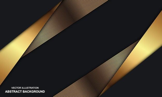 Zwarte dop abstracte achtergrond met gouden lijnen modern design