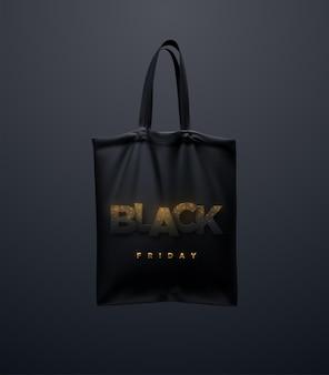 Zwarte draagtas met black friday teken