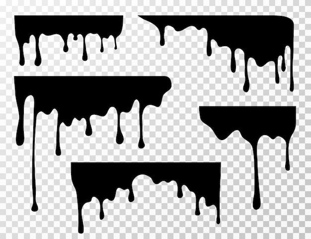 Zwarte druipende olievlek, saus of verf huidige silhouetten geïsoleerd