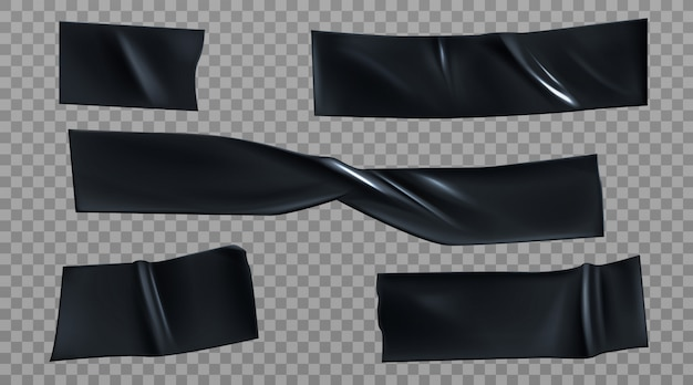 Zwarte ducttape stukken, isolerende strepen set