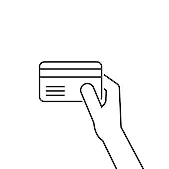 Zwarte dunne lijn hand met creditcard. concept van zakelijk betalen, commercieel bankieren, schulden, vegen, rijkdom, handel, identificatie. vlakke stijl trend modern logo grafisch ontwerp op witte achtergrond