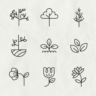 Zwarte eco lijn pictogram vector set