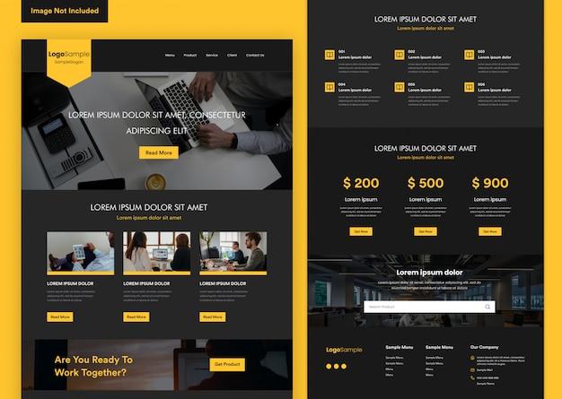 Zwarte elegante website ontwerpsjabloon voor bedrijfsontwikkeling