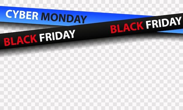 Zwarte en blauwe linten te koop black friday cyber maandag geïsoleerd op transparante achtergrond