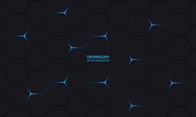 Zwarte en blauwe zeshoekige technologie abstracte achtergrond