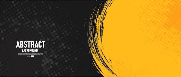 Zwarte en gele abstracte achtergrond met halftone stijl.