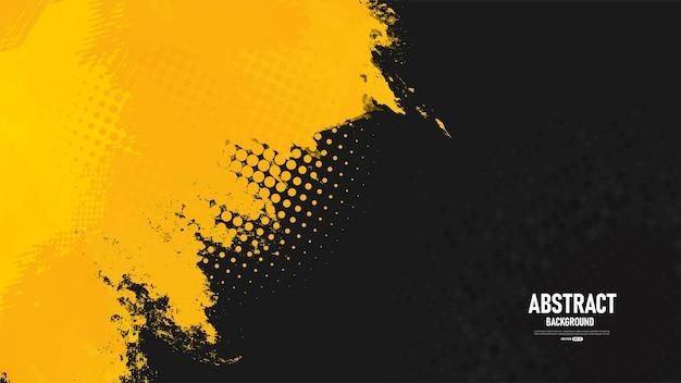 Zwarte en gele abstracte grungeachtergrond