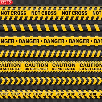 Zwarte en gele geïsoleerde voorzichtigheidslijnen. realistische waarschuwingstapes. gevaar tekenen.