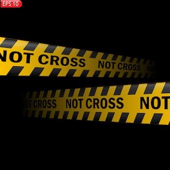 Zwarte en gele geïsoleerde voorzichtigheidslijnen. realistische waarschuwingstapes. niet kruis