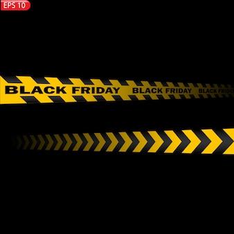 Zwarte en gele geïsoleerde voorzichtigheidslijnen. realistische waarschuwingstapes. zwarte vrijdag verkoop