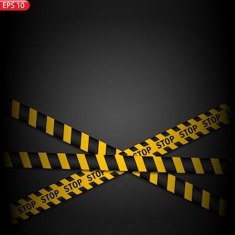 Zwarte en gele geïsoleerde voorzichtigheidslijnen. realistische waarschuwingstapes.