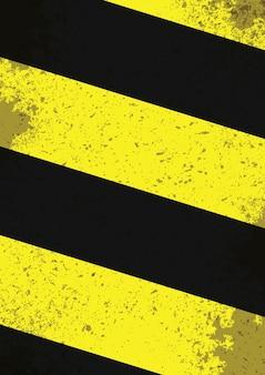 Zwarte en gele gevarenlijnen met grungegevolgen