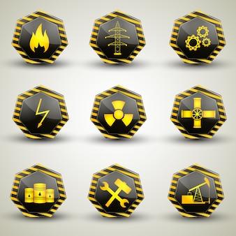 Zwarte en gele industriële pictogrammen die met verschillende waarschuwingsborden worden geplaatst die op grijze achtergrond worden geïsoleerd