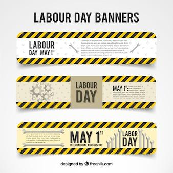 Zwarte en gele lijnen labor day banners