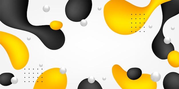 Zwarte en gele vloeibare vormenachtergrond