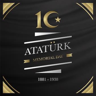 Zwarte en gouden ataturk herdenkingsdag