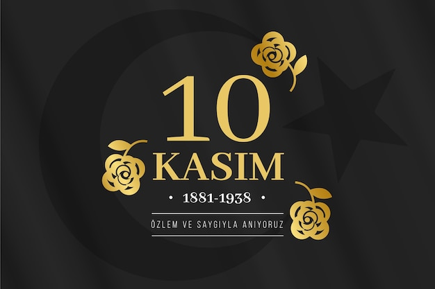 Zwarte en gouden atatürk-herdenkingsdag