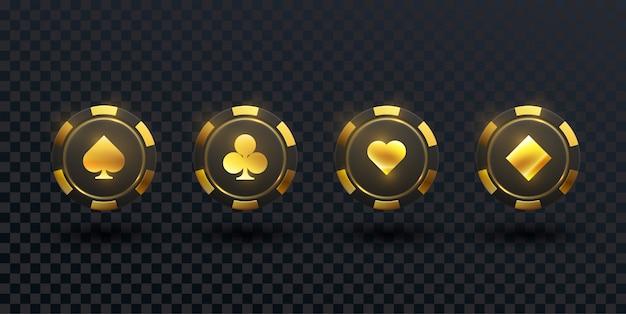 Zwarte en gouden casinofiches die op zwarte achtergrond worden geïsoleerd.