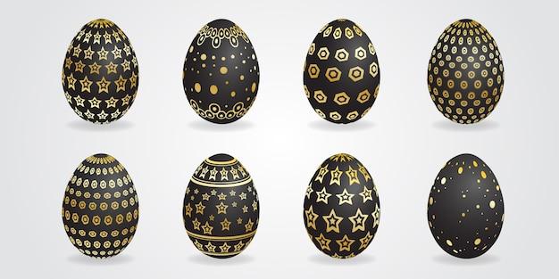 Zwarte en gouden easter egg design set