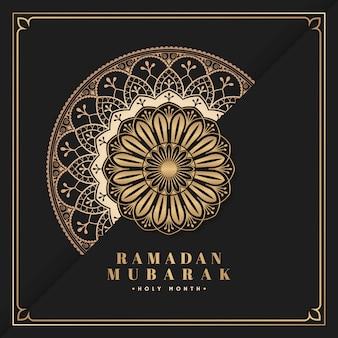 Zwarte en gouden eid mubarak-prentbriefkaarvector