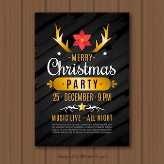 Zwarte en gouden flyer voor een kerstfeest