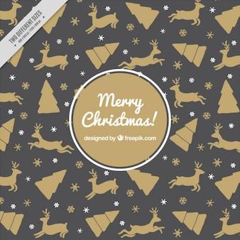 Zwarte en gouden kerst patroon