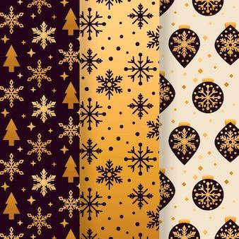 Zwarte en gouden kerstpatrooncollectie