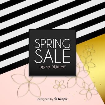 Zwarte en gouden lente verkoop achtergrond