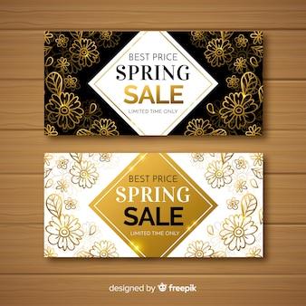 Zwarte en gouden lente verkoop banners