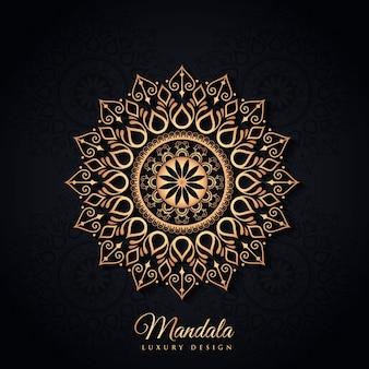 Zwarte en gouden luxe mandala achtergrond