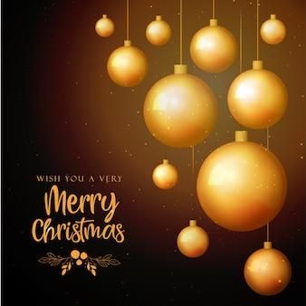 Zwarte en gouden merry christmas achtergrond