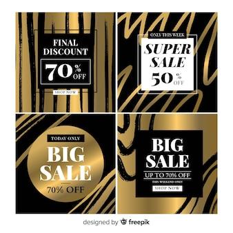 Zwarte en gouden verkoopkaart