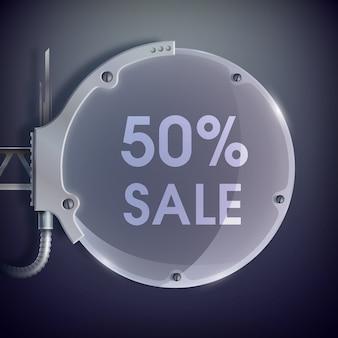Zwarte en grijze verkoopposter met woorden vijftien procent verkoop op het ronde metalen zeshoekige reclamebord en één houder zijwaarts op de donkergrijze achtergrond