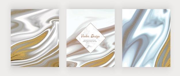 Zwarte en grijze vloeibare inkt met gouden glitterachtergronden en marmeren frame.