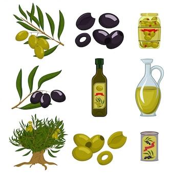 Zwarte en groene olijven zijn heel en in plakjes gesneden