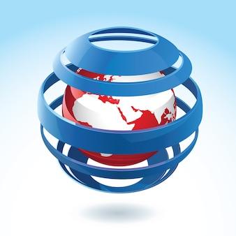 Zwarte en rode aardebol met blauw rond lint
